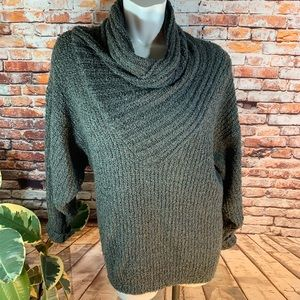 Sweaters - Oversized Gray Cowl-Necked Nubbly Comfy Sweater